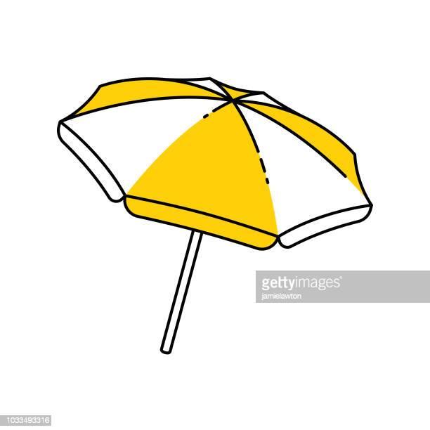 open outline beach umbrella - parasol stock illustrations