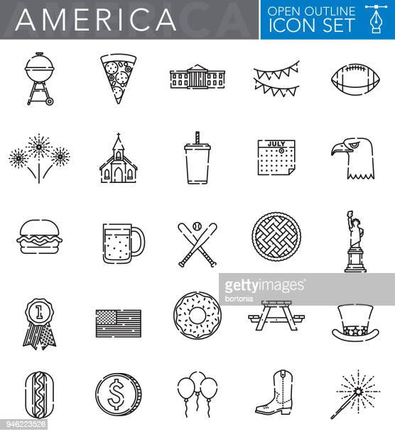 USA Open Outline Icon Set