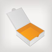 Open packaging box mockup. Gray square and orange inside
