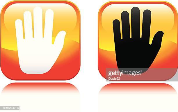 open palm icon - walk don't walk signal stock illustrations