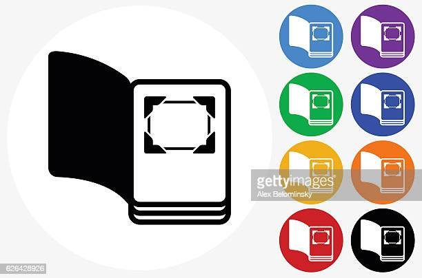 Open Photo Album Icon on Flat Color Circle Buttons