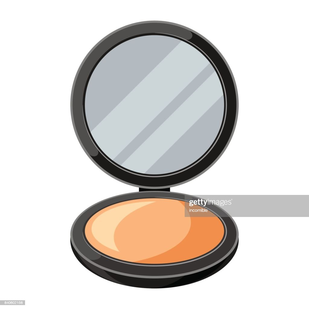 Open powder compact or make up. Illustration of object on white background in flat design style