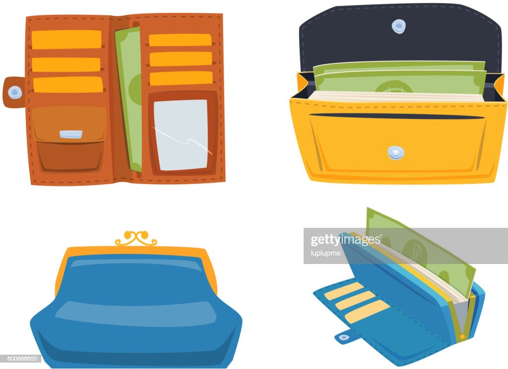 Open purse wallet vector set.
