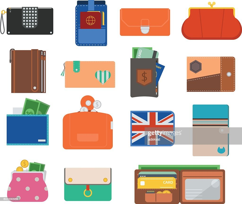 Open purse wallet vector set.