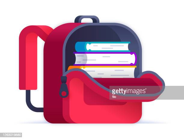open red backpack full of books - exercise book stock illustrations