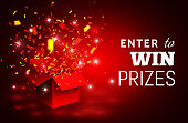 Open Red Gift Box and Confetti. Enter to Win Prizes. Vector Illustration