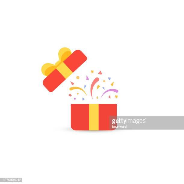 open red geschenk konfetti hintergrund - geschenk stock-grafiken, -clipart, -cartoons und -symbole