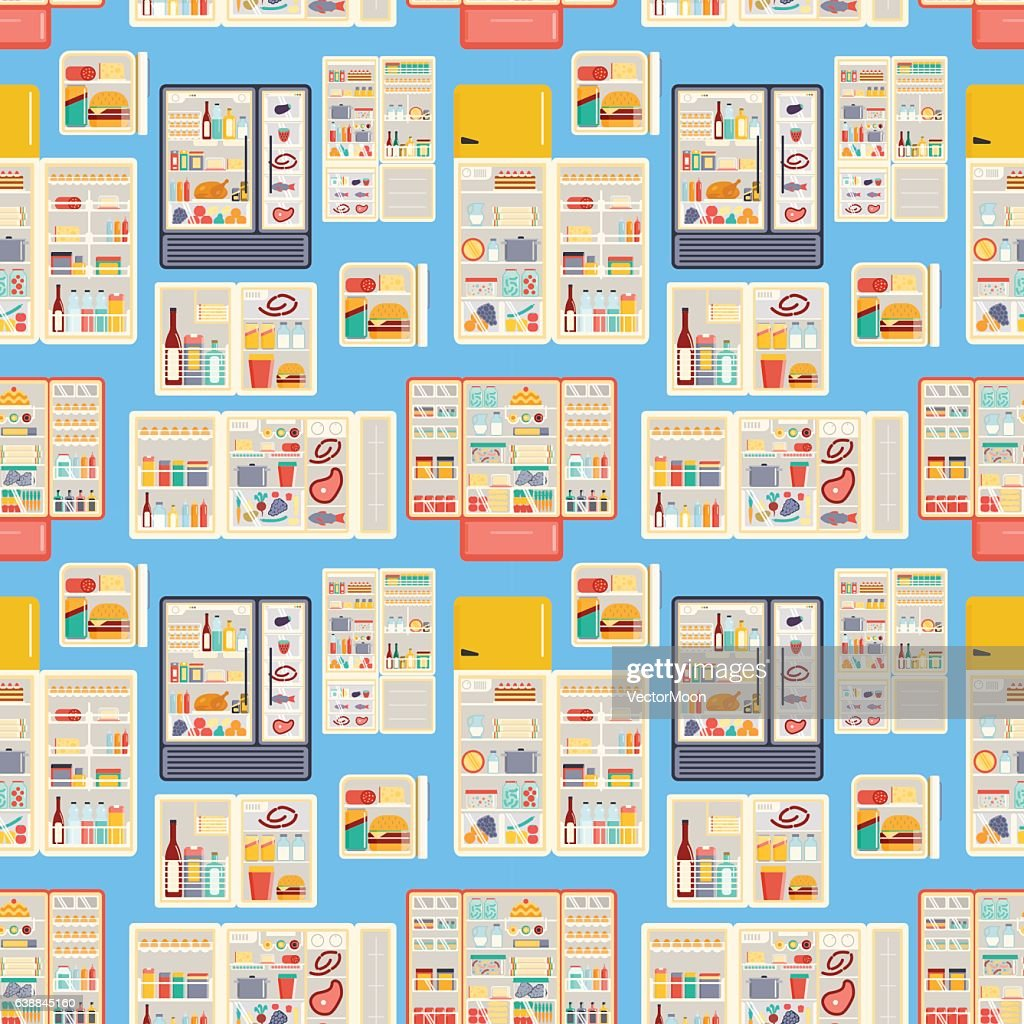 Open refrigerator products vector seamless pattern.