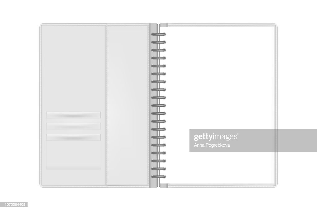 Open ring binder folder filled with hole punched A4 paper mock-up