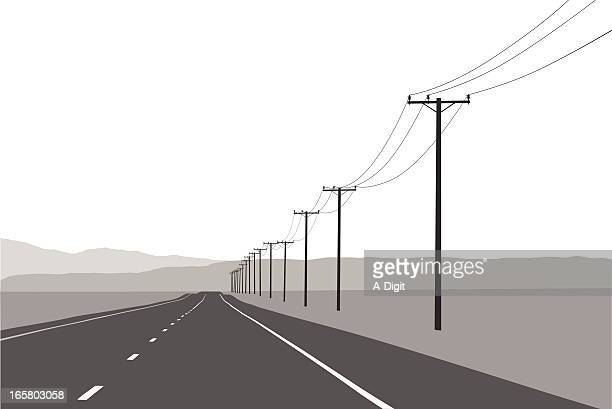 open road vector silhouette - telephone line stock illustrations, clip art, cartoons, & icons