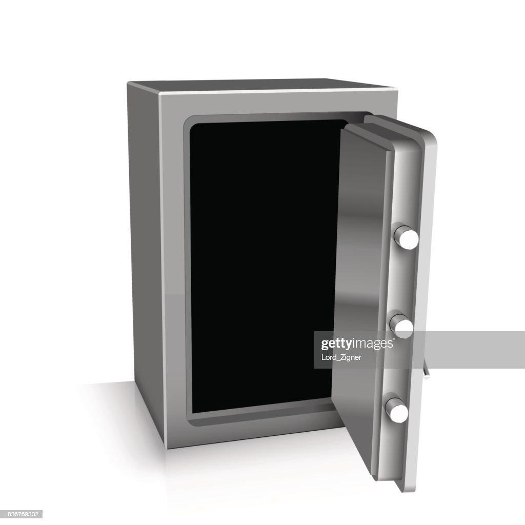 Open safe deposit 3D. Bankruptcy concept. Vector illustration
