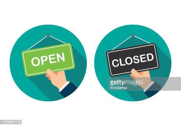 open sign and closed sign - opening event stock illustrations