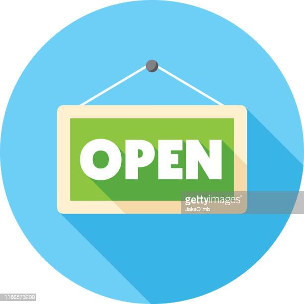 open sign icon flat - store opening stock illustrations
