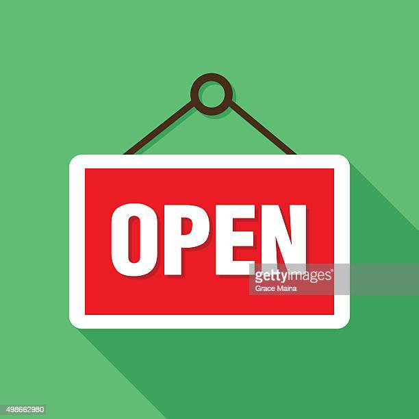 open sign icon illustration - vector - open sign stock illustrations, clip art, cartoons, & icons
