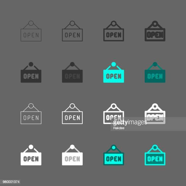 open sign icons - multi series - store sign stock illustrations