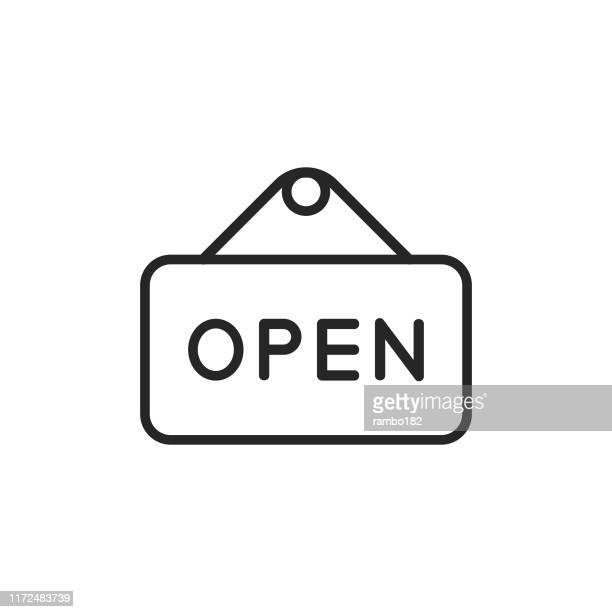 open sign line icon. editable stroke. pixel perfect. for mobile and web. - open sign stock illustrations