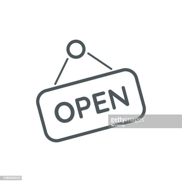 open sign line icon - open sign stock illustrations, clip art, cartoons, & icons