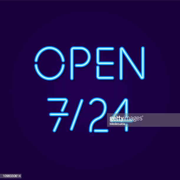 open sign neon - open sign stock illustrations