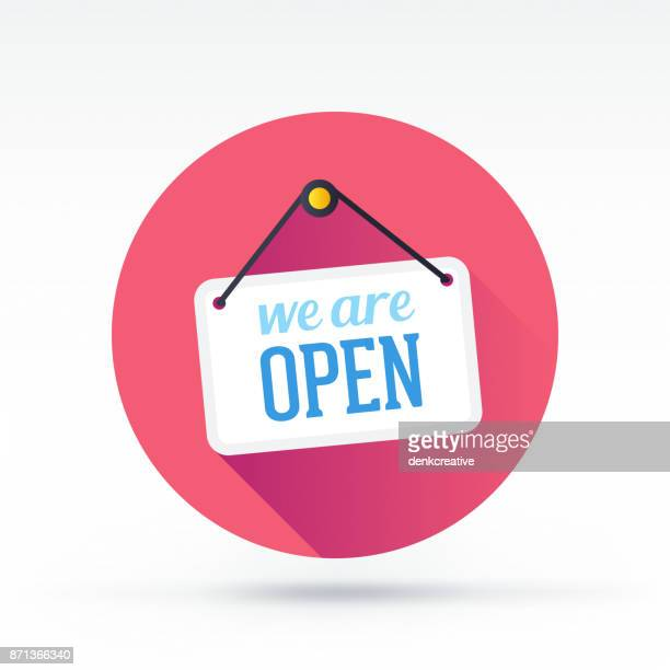 open sign - store sign stock illustrations