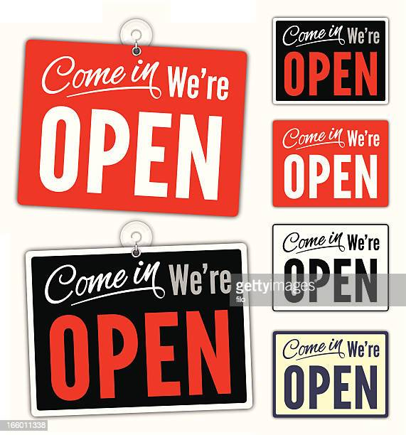 open signs - open stock illustrations