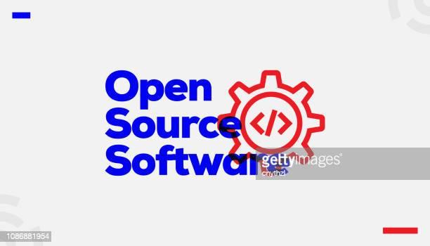 stockillustraties, clipart, cartoons en iconen met open source software conceptontwerp - ontvangen