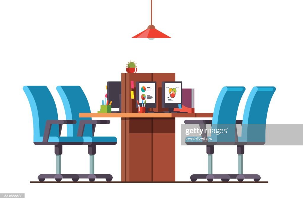 Open space office with combined desks and chairs