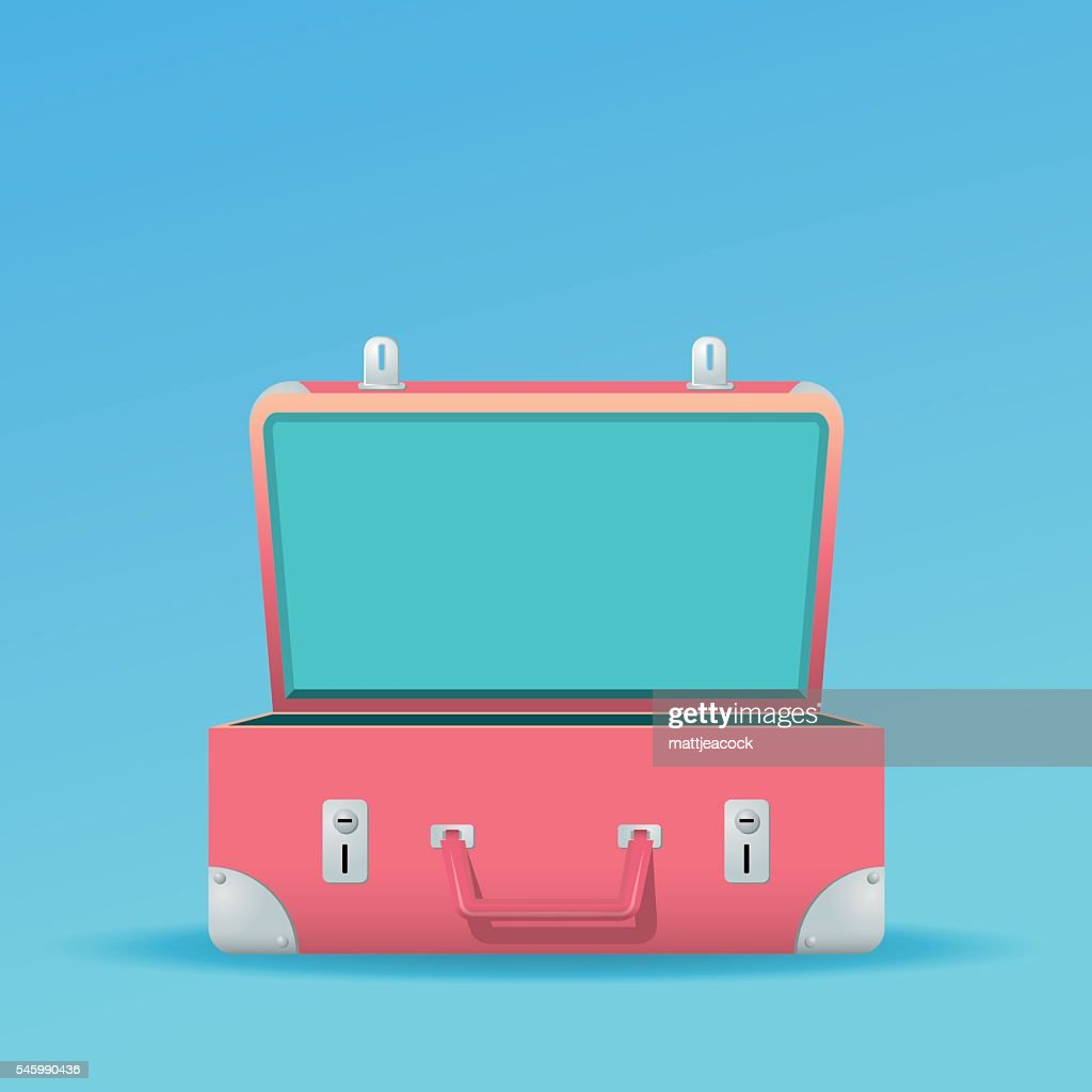 Open suitcase on a blue background : stock illustration