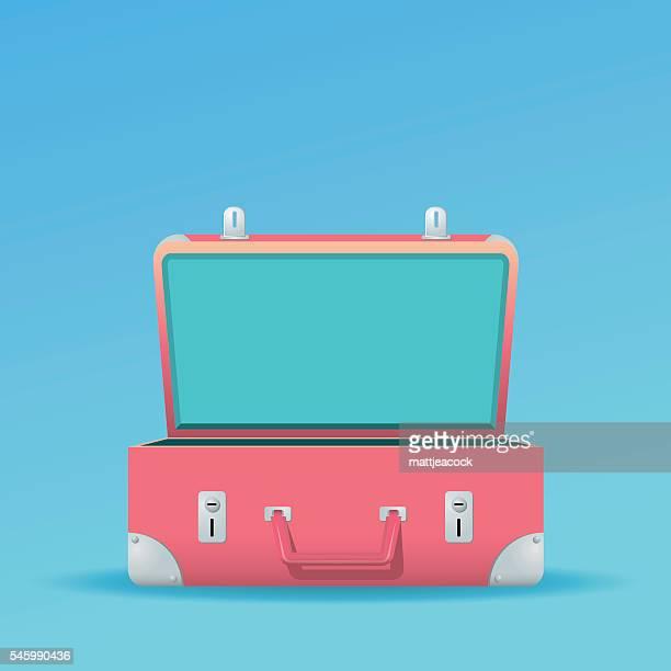 ilustraciones, imágenes clip art, dibujos animados e iconos de stock de open suitcase on a blue background - maleta
