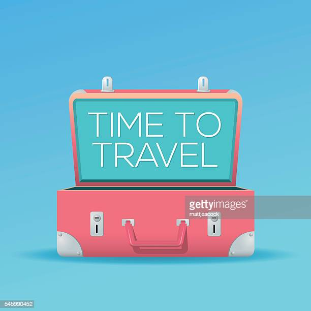 Open suitcase on a blue background