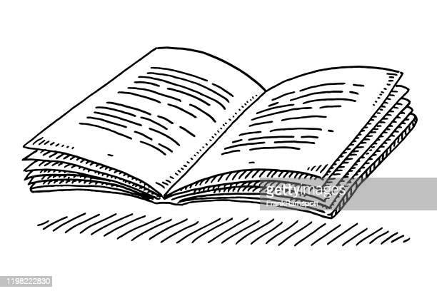 öffnen der textbuchzeichnung - clipart stock-grafiken, -clipart, -cartoons und -symbole