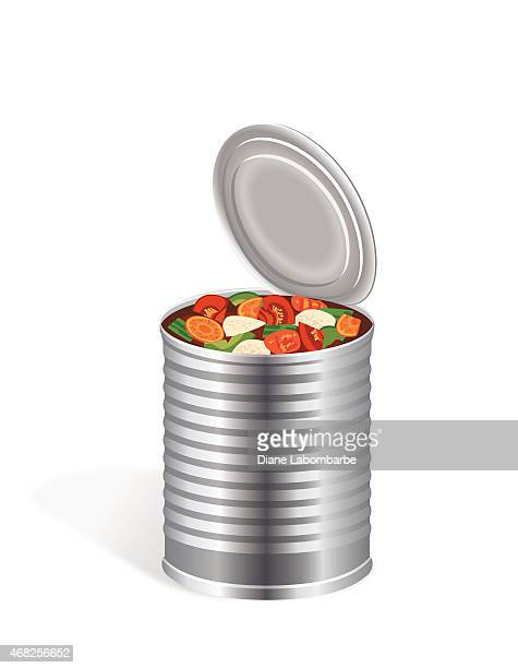 Open Tin  Can Of Vegetable Soup On White Background
