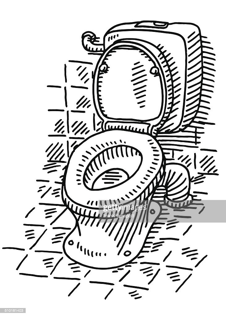 Open Toilet Bathroom Drawing Vector Art
