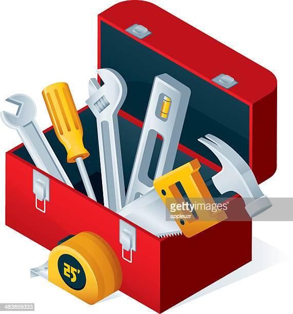 ilustraciones, imágenes clip art, dibujos animados e iconos de stock de caja de herramientas con herramientas abierta - caja de herramientas