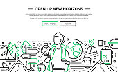 Open Up New Horizons - line design website banner