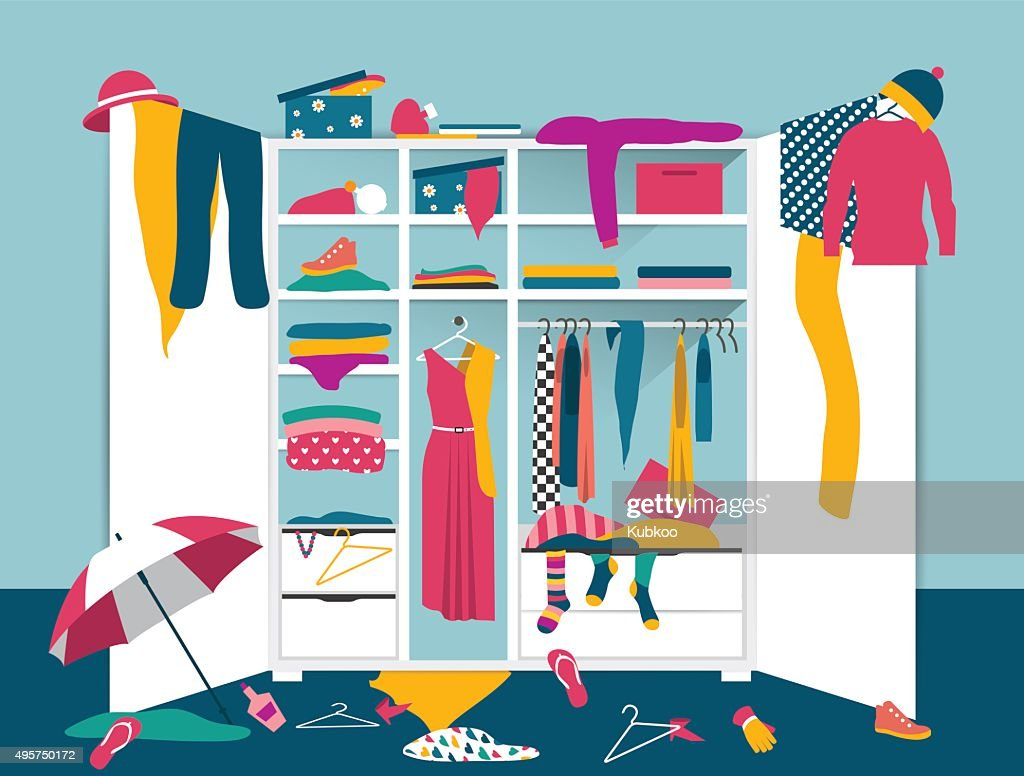 Open wardrobe. White closet with untidy clothes