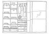 Open wardrobe with clothes on shelves and hangers. Vector illustration of a sketch style.