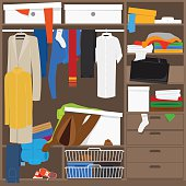 Open wardrobe with mess clothes