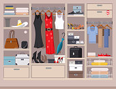 Open wardrobe with women's and men's clothing. Closet with shelves, hangers and boxes. Vector flat illustration of a cupboard full of things.