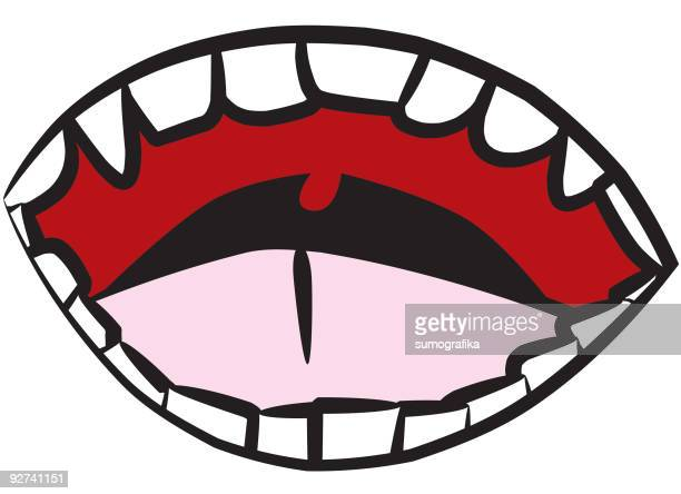 open wide [ mouth / teeth / gums ] - animal saliva stock illustrations, clip art, cartoons, & icons