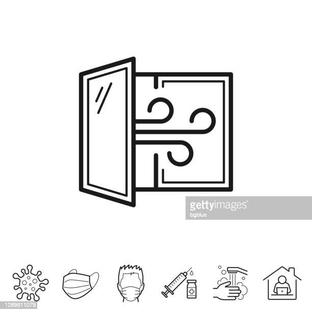 open window - airing the room. line icon - editable stroke - air duct stock illustrations
