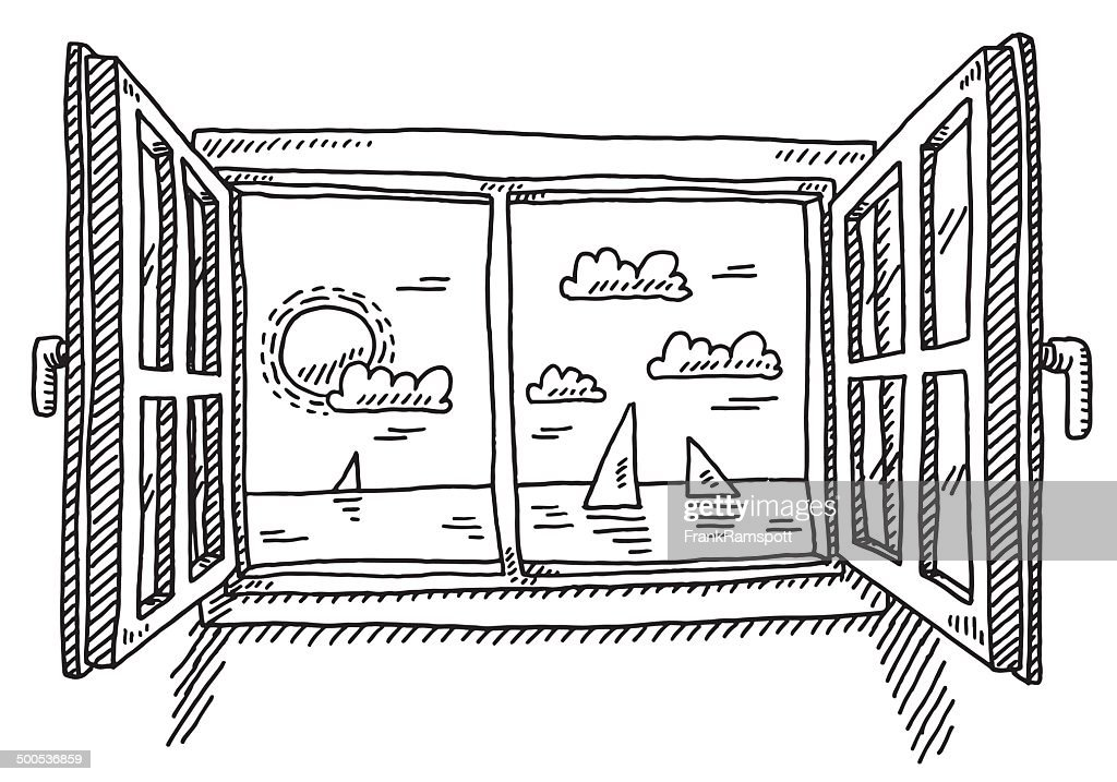 sc 1 st  Getty Images & Open Window Looking To The Sea Drawing Vector Art | Getty Images pezcame.com