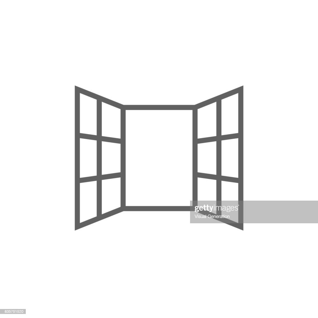 Open windows line icon