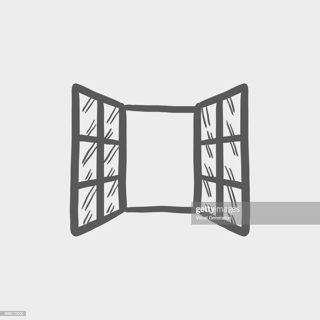 Open windows sketch hand drawn doodle icon