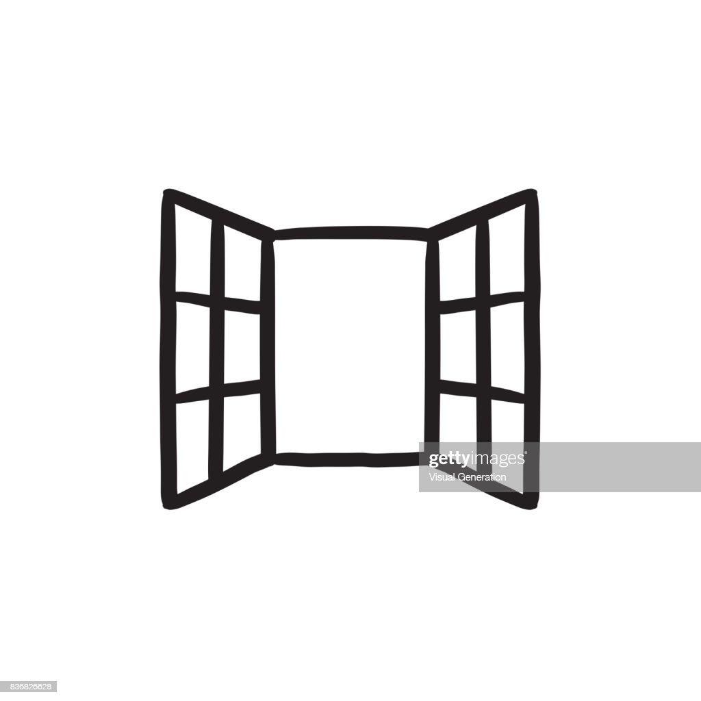Open windows sketch icon