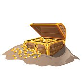 Open wooden pirate chest in sand with Golden coins
