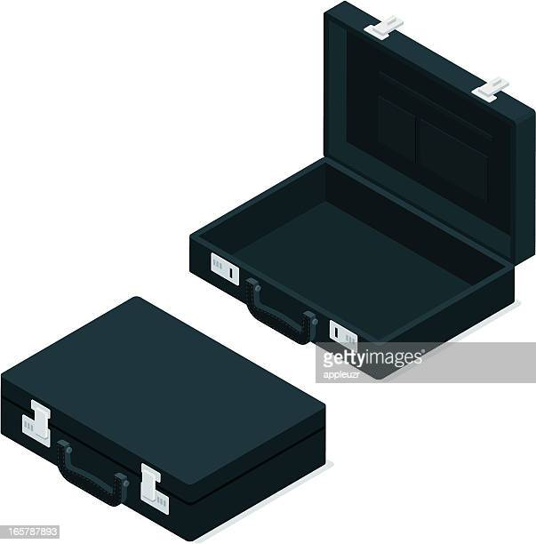 Opened and Closed Black Briefcase
