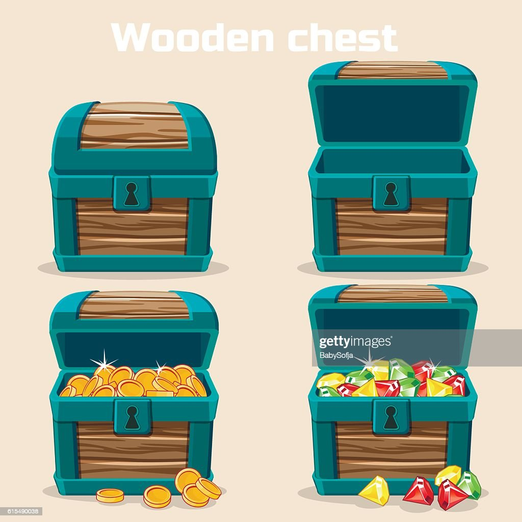 Opened and closed chest with coins, diamonds