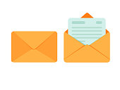 Opened and closed envelope with note paper card. Mail icon. Vector illustration