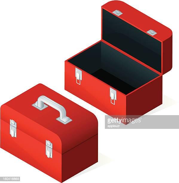 ilustraciones, imágenes clip art, dibujos animados e iconos de stock de abrir y cerrar y cajas de herramientas - caja de herramientas