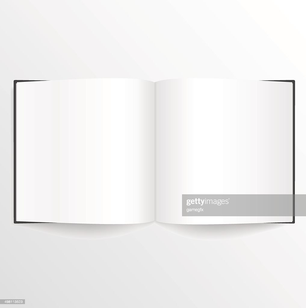 Opened blank book or magazine spread with cover